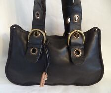 HIDESIGN THICK BLACK LEATHER SHOULDER BAG HANDBAG