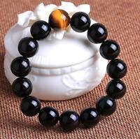 Natural obsidian 20 mm tiger's eye beads men lucky bracelet AAAAA +