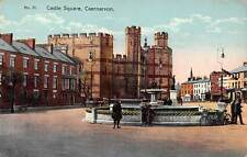 Wales Caernarvon Castle Square Bicycles Bikes Old Car, Fountain