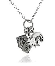 Tiny Lucky Charm Necklace - 925 Sterling Silver - Horseshoe Clover Poker Luck