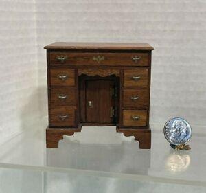 VTG UK Artisan ESCUTCHEON FINE Kneehole Desk Dollhouse Miniature 1:12
