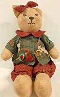 """Adorable Handmade 22"""" Primitive Country Fabric Brown Button Eyed KITTY CAT DOLL"""