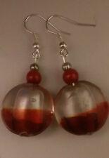 Lampwork drop dangle, silver plated earrings,silver/red pearl bead,tibetan (215)