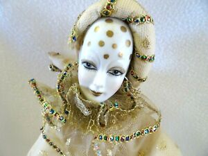 1980s  Porcelain Harlequin Pierrot Jester Clown Doll Gold Lamé w. Metal Stand