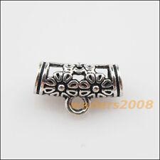 18 New Tibetan Silver Flower Charms European Bail Beads Fit Bracelet 8.5x14.5mm