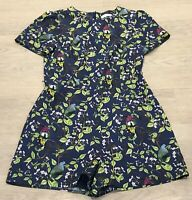 Pretty OASIS Navy Green Floral Bird Jumpsuit Playsuit Shorts UK 12 Holidays