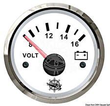 "OSCULATI Voltmètre 52 mm 2"""" 8-16 V Blanc/poli 12 V"