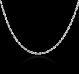 """Solid 925 Sterling Silver Diamond Cut Rope Chain 1.5mm to 6mm, 16"""" to 30"""" Itlay"""