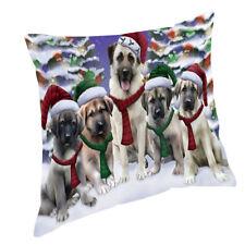 Anatolian Shepherds Dog Christmas scenic background Throw Pillow 14x14