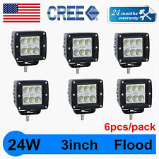 6PCS 3''in 24W CREE LED Work Light Offroad FLOOD Cube Pods Lamp Save Flush Mount