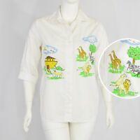 1990's Vintage Noah's Ark Graphic Print Button Front Shirt Top Oversized M L