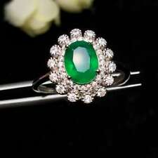 Certified Natural Colombian Emerald Ring 925 Sterling Silver White Women Gifts