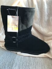 BEARPAW Adele Braided Boots size 10 Black New Without Box Tags Attached