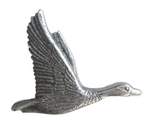 Flying Duck Pin Badge in Polished English Pewter
