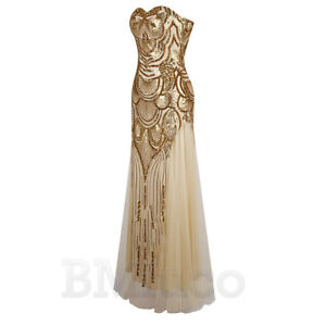 1920s Flapper Dress Gatsby Cocktail Sequin Long Dresses Evening Bridesmaid Gowns