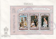 Penrhyn/Cook islandas FDC n. 92-94 Silver Jubilee of Regina Elisabetta II.