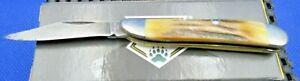 VINTAGE  3 Inch SINGLE Blade DAMASCUS BEAUTIFUL STAG  BONE PEANUT PATTERN FOLDER