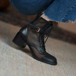 Womens Fashion 2021 Leather Mesh Block Heel Buckle Strap Combat Boots Shoes SKGB