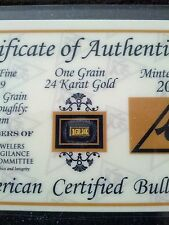 ACB GOLD 24K Pure BULLION MINTED.1GRAIN BAR 99.99 FINE W/ CERT OF AUTHENTICITY.+