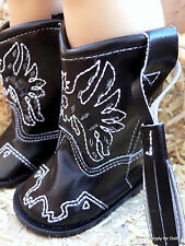 "BLACK Eagle Western Cowboy DOLL BOOTS SHOES fits 18"" AMERICAN GIRL Doll Clothes"