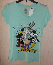 NWT WOMENS / JUNIORS LOONEY TUNES MINT GREEN NOVELTY T-shirt   SIZE M