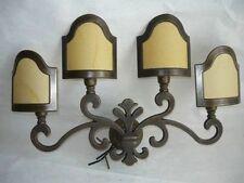 Applique Lampada GIGLIO FIORENTINO ottone e pergamena 4 luci