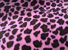 "Pink Cheetah leopard print fleece fabric, 60"" wide, sold BTY, very soft"