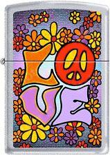 Zippo Hippie LOVE Flower Child Peace Happiness Satin Chrome Lighter NEW