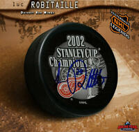 LUC ROBITAILLE Autographed 2002 Stanley Cup Champions Puck - Detroit Red Wings