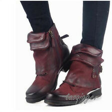 Womens British Retro Buckle Round Toe Ankle Boots Cowboy Leather Punk Boots Size