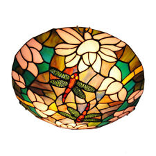 Mission Tiffany Stained Glass Ceiling Light Retro Dragonfly Chandelier Fixture