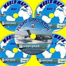SUPERB SIMULATORE DI VOLO + COMPLETO World MAPPE E 150 AEREI A MOSCA 5 pc dvd