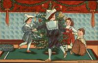 Chrstomas P. Sander Series - Children Play New Toys Tree c1910 Postcard #3