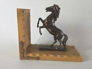 Estate Copper Look Rearing HORSE Single Bookend Vintage Germany Western Decor
