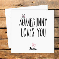 Personalised Easter Card For Her For Him Husband Wife Girlfriend Boyfriend Bunny