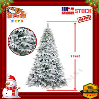 2019 Artificial Christmas Tree Xmas Holiday Snow Coated Green White - 7 Foot FT
