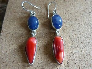 Silver 925 Red Coral and Lapis Lazuli Earrings