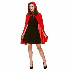Short Red Cape With Hood Red Riding Fairytale Adults Womens Fancy Dress Costume