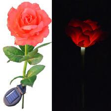 US Flower Solar Powered LED Red Rose Night Light for Garden Yard Landscape Decor