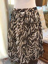 Talbots Black Tan Zebra Animal Print Pleated Aline Flare Skirt 20 W Excellent
