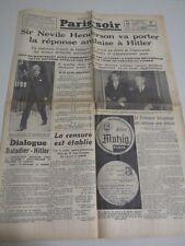 Aug 29 1939 OLD FRENCH NEWSPAPER PARIS SOIR Hitler Daladier invasion of Poland