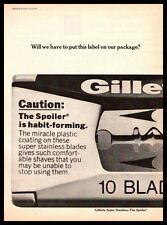 "1970 Gillette Super Stainless ""The Spoiler"" Safety Razor Blades Vintage Print Ad"