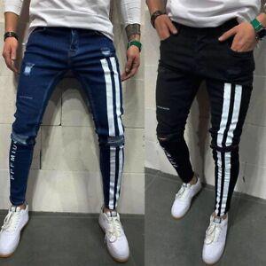 2021 Men black Stretchy Jeans Side striped Design Fashion Letter embroidered