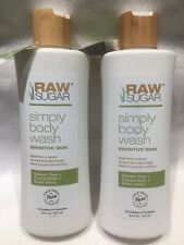 2 Raw Sugar Sensitive Skin Green Tea Cucumber / Aloe Vera Natural Body Wash 25oz