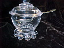 CANDLEWICK BY  IMPERIAL GLASS CO ,  3 PIECE MUSTARD SET, BOWL,LID,SPOON SMALL
