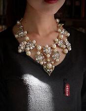 Collier Floral Goutte Perle Blanc Gris Baroque Vintage Original Mariage AMN 1
