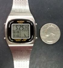 MICROMA 1979 Mens Quartz LCD 4 Button ELECTRONIC COMBO Musical Alarm Watch NOS