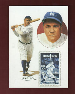 "Babe Ruth Yankees size 5""x 7"" issued by USPS postcard stamp & Paluso Art Design"