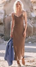 NWT Spell & the Gypsy Collective Designs Cabin Love Silk Slip Dress Nutmeg XXS