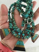 Handmade Sterling Silver Blue/green Turquoise Beads Native Indian Style Necklace